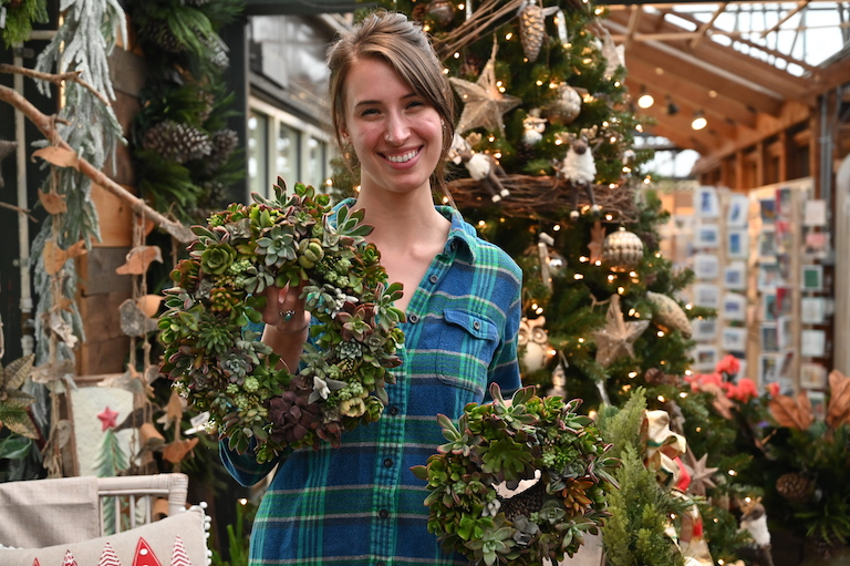 Lauren with succulent wreaths