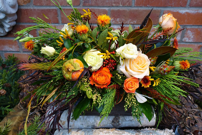Roses, Pumpkins, Magnolia Leaves and Evergreen Sturtz and Copeland Boulder CO