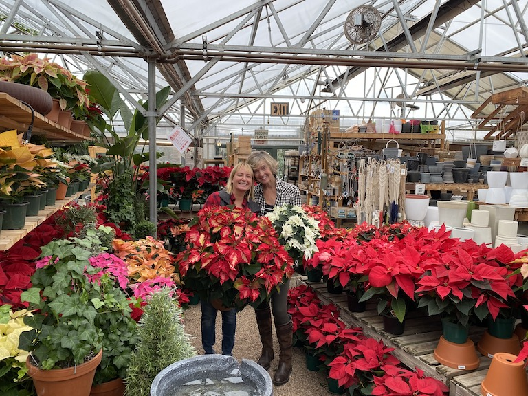 Stef and Jenn in the Poinsettias