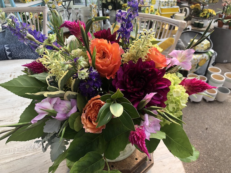 A September arrangement with dahlias